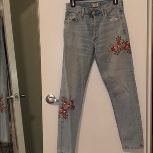 Citizens of humanity floral embroidered jeans